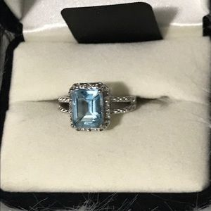 Jewelry - Sterling Silver Blue and White Topaz Halo Ring